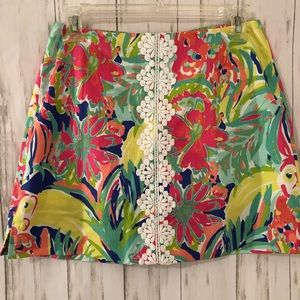 Lily Pulitzer Skirt with Lace Center  Size 0